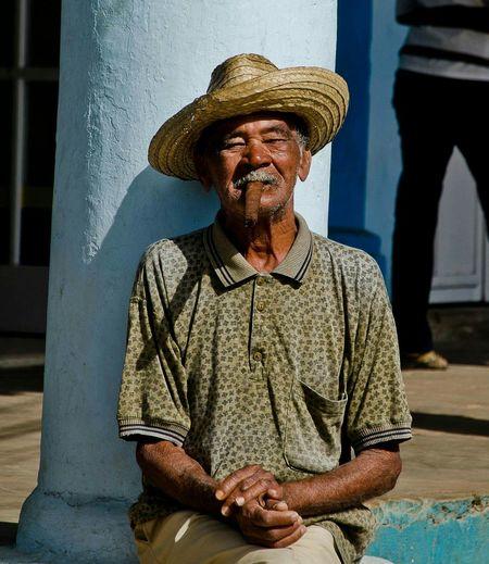 Cuba Viñales Smoking Cigar Cigar Tabaco Old Man Smoking Cigar Old Man