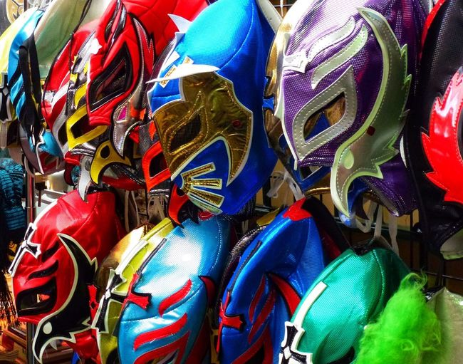 Wrestling Mask Multi Colored Backgrounds Full Frame Large Group Of Objects Variation For Sale No People Abundance Retail  Choice Arts Culture And Entertainment Day Outdoors Close-up