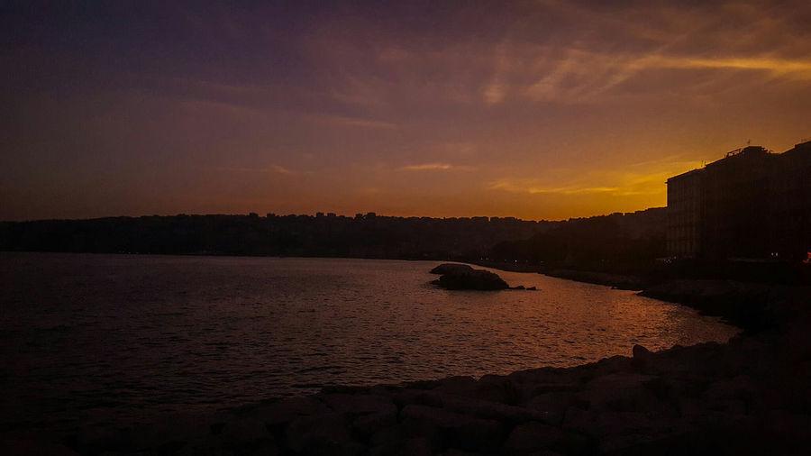Spectacular Sea And Sky Tramonto Naples Sunset Photography Margellina Posilipo Posilipon Vesuvion Italianlandscape Italy Photos Seascape Photography