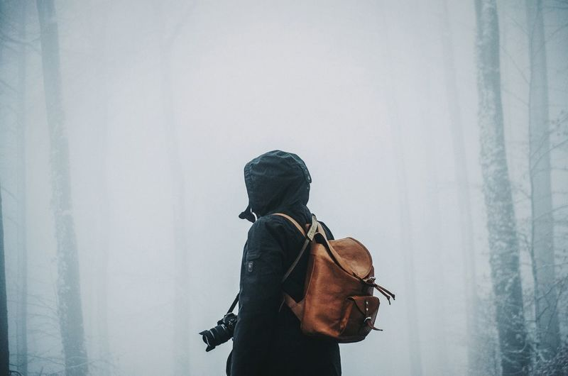Rear View Of Person With Backpack Standing At Forest During Foggy Weather