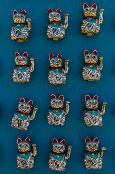 12 Amulet Animal Animal Themes Beckoning Cat Blue Cat Cats Festival Figurine  Fortune Fortune Cat Funny Cat Gato Group Japanese  Japanese Cat Little Cat Lucky Maneki-neko Manekineko Money Paws Talisman Twelve