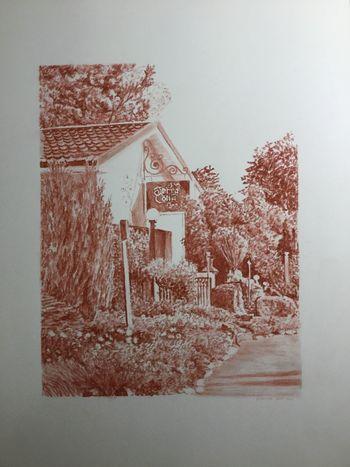 Conté Sanguine drawing of the Terra Cotta Inn in Terra Cotta, Ontario. 20 x 25 cm Canadian Art Conté Sanguine Architecture Conte Drawing Drawing Realistic Drawing