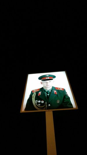 Picture of Russian Soldier at Checkpoint Charlie . · Berlin Germany 030 Former Border Control Point Checkpoint Monument Landmark Memorial Cold War Darkness Night Night Photography