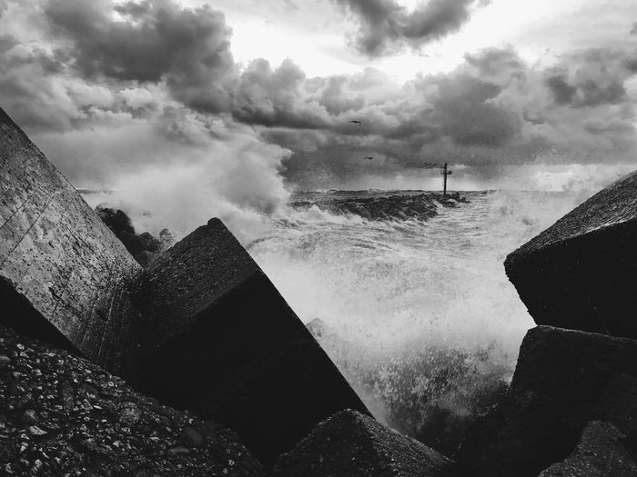 Sea Water Sky Day Cloud - Sky Wave Motion Outdoors Nature Power In Nature No People Breaking Beauty In Nature Beach Force Horizon Over Water Blackandwhite Black & White Blackandwhite Photography Black And White Black And White Photography