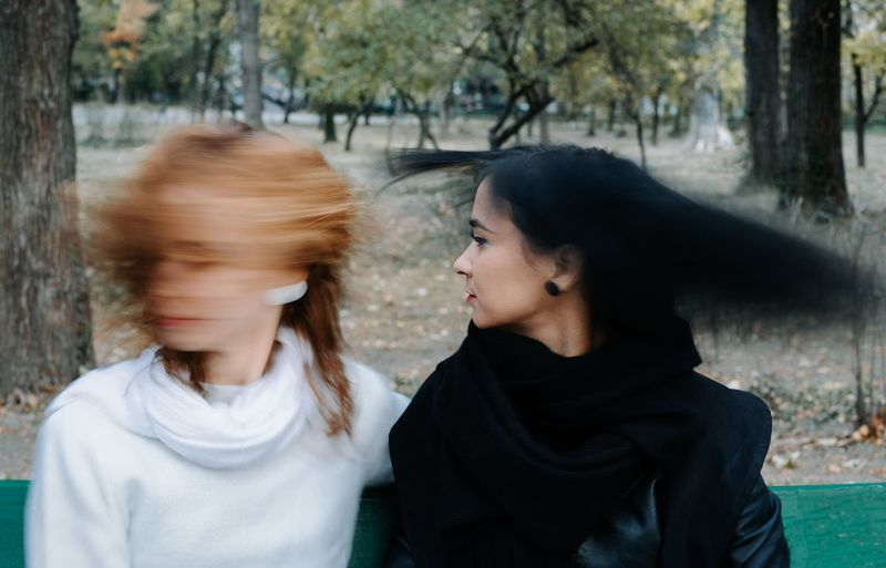 Sisters Twins Two People Long Exposure Motion Motion Blur Blur Blurred Motion Women Young Women Togetherness Friendship Tree Headshot Love Family Bonds Autumn Mood