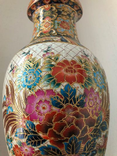 Vase Indoors  Art And Craft Pattern Craft No People Creativity Close-up Vase Floral Pattern Ceramics Still Life Multi Colored Single Object Decoration The Past Design History Ancient