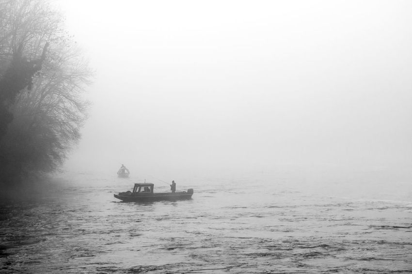 "Thick fog at the ""Rheinfall"" in Switzerland Arid Landscape Blackandwhite Boat Europe Fisherman Boat Fog Getting Away From It All Light Museum Outdoors Power In Nature Rhein Rheinfall Schweiz Schwiz Swiss Switzerland Tranquility Wasserfall Waterfall Weather Winter"