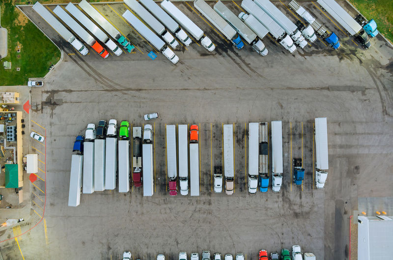High angle view of multi colored building