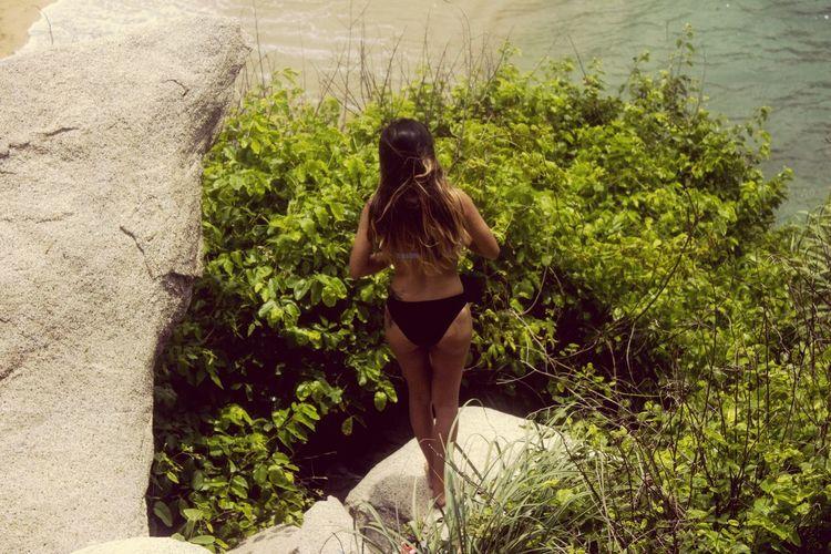 Rear View Of Woman Wearing Bikini While Standing On Rock By Sea