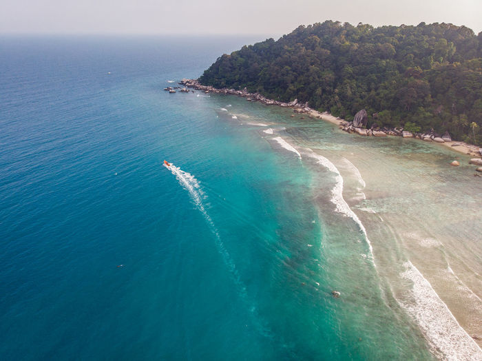 ASIA Perhentian Island Aerial View Beach Beauty In Nature Blue Day High Angle View Idyllic Island Land Luxury Malaysia Nature Nautical Vessel No People Outdoors Scenics - Nature Sea Sky Terengganu Tranquil Scene Tranquility Turquoise Colored Water
