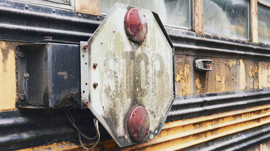 Close-up of abandoned train