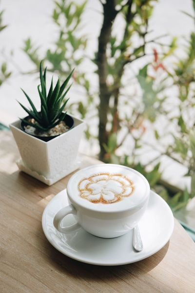 Coffee - Drink Coffee Cup Saucer White Color No People Food And Drink Cup Table Plate Cappuccino Day Indoors  Latte