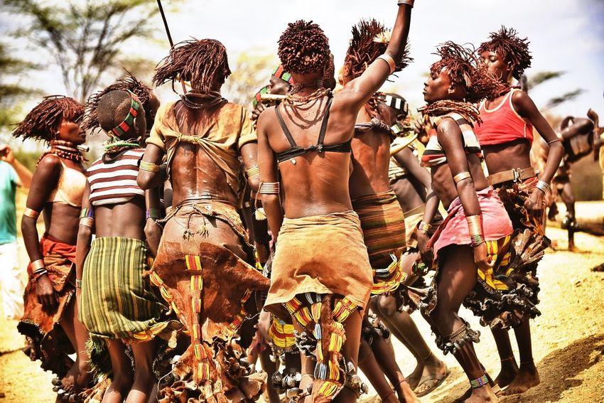 Ethiopia, women from hamer tribe dancing. Ethiopia Hamer Hamertribe Dance Africa