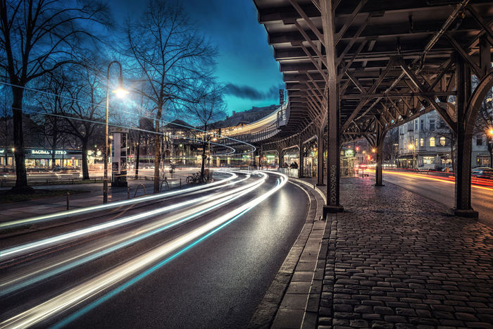 Architecture Bare Tree Berlin Blaue Stunde Built Structure City Illuminated Kreuzberg Langzeitbelichtung Light Trail Lighttrails Long Exposure Motion Night No People Outdoors Road Schlesisches Tor Speed Strawberry The Way Forward Transportation Tree Ubahn Viaduct