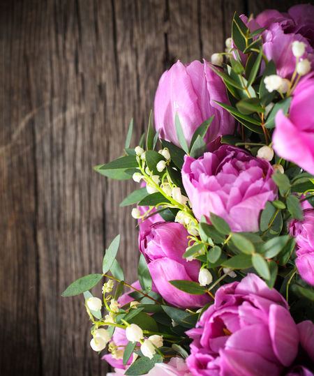 High angle view of pink flowering plant on table
