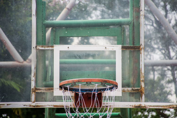 Basketball - Sport Basketball Hoop Close-up Court Day Hanging Net - Sports Equipment No People Outdoors Scoring Sport