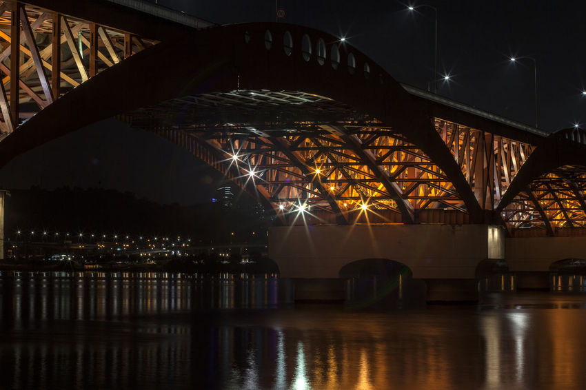 Architectural Column Architecture Bridge Bridge - Man Made Structure Built Structure Connection Engineering Han River Hangang Illuminated Light Nature Night Night View No People Outdoors Reflection River Riverside Seongsandaegyo Sky Tranquility Travel Destinations Water