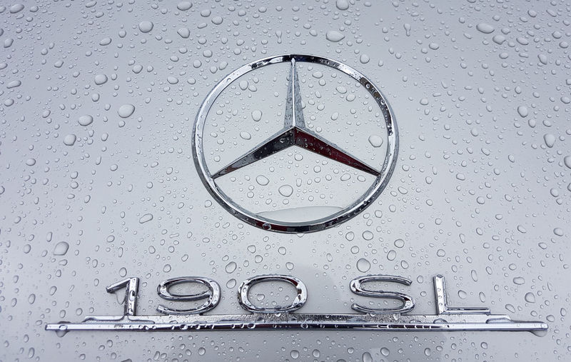 Logo from Mercedes Benz Mercedes-Benz 190 SL Mettalic Silver  Detail Stern Mercedes Drop Water Wet Rain No People Close-up RainDrop Transparent Backgrounds Shape Full Frame Circle Rainy Season Dew Purity Oldtimer Auto Car