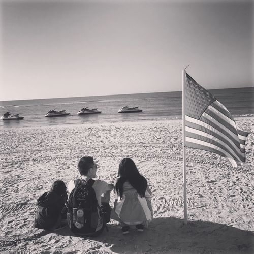 Real People Leisure Activity Beach Outdoors Water Family Time Family American Flag America Sand Fort Myers Beach Fort Myers, Fl Morning