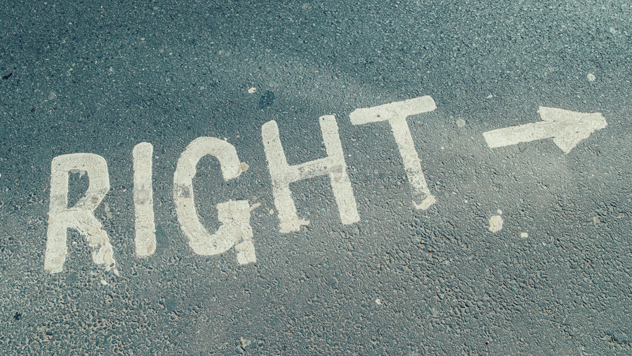 "High Angle View Of ""right"" Text"