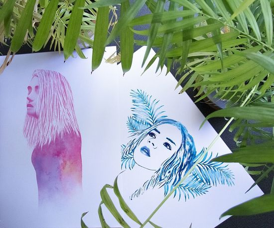 """""""Inner Storm"""" and """"Leaf"""" - Print Version Portrait Painting Drawing ArtWork Creative Printing Fashion Illustration Design Artist Art Gallery Photoshop Digital Art Drawings Creativity My Artwork Artgallery Adults Only Human Face One Person Young Women One Woman Only Beauty Flower Beautiful Woman"""