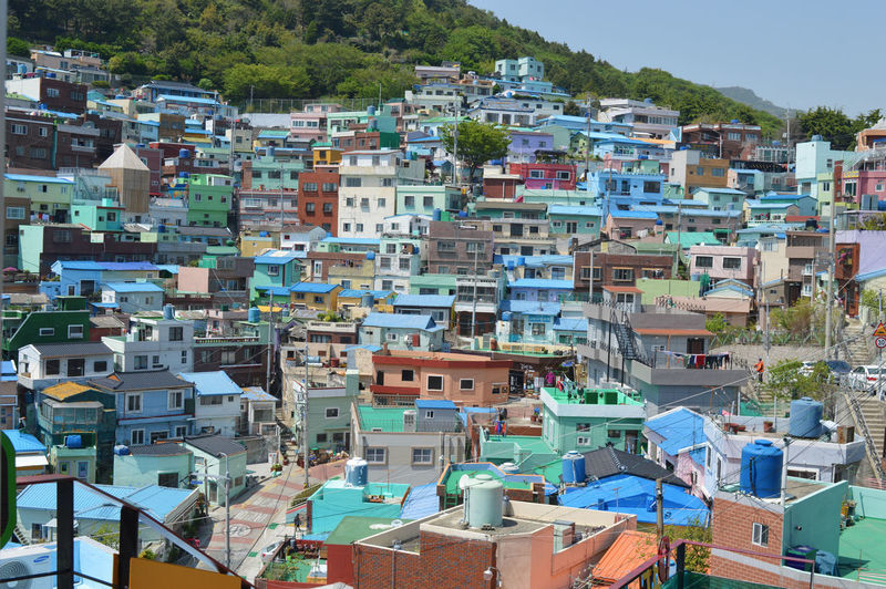 A view of colorful gamcheon city from above in busan, south korea
