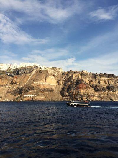 Cruise Ship Fira Santorini Water Sky Cloud - Sky Sea Nature Day Land Mode Of Transportation Beauty In Nature Nautical Vessel