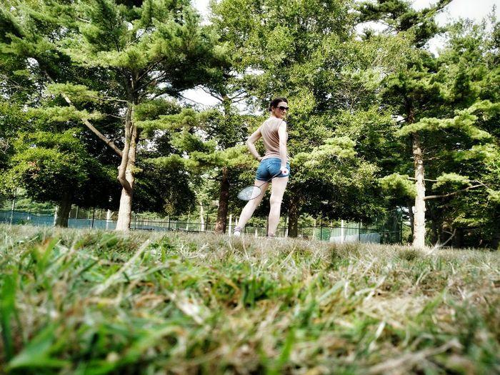 Outdoor Badminton Sport Fitness Park Green Nature Beautiful Girl Racquet Fun