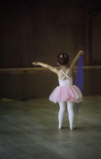 Rear View Of Ballet Dancer In Dance Studio