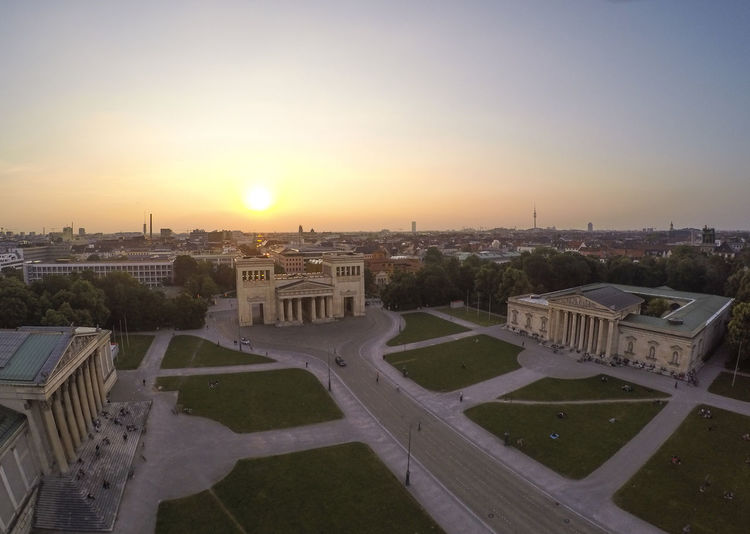 An aerial shot of Königsplatz in Munich as the sun sets. Architecture Sky Built Structure Building Exterior Sunset City Nature Cityscape High Angle View Building No People Outdoors Tourism Sun Travel Destinations Travel Orange Color Sunlight Town Monument Munich Bayern City Life Cityscape