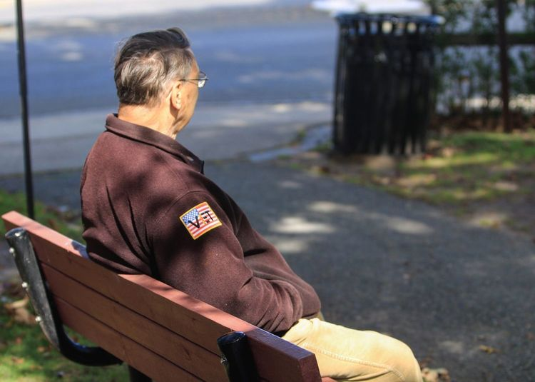 Veteran Americanflag Warveteran Parkbench EyeEm Selects One Person Real People Men Day Sitting Adult Focus On Foreground Clothing Waist Up Males  Seat Mature Adult Outdoors Side View Looking Bench