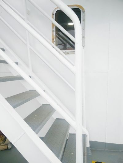 on board a cruise Monochrome #Cruising #maritme #crossingcountries #sailing #boat #photography Transportation Commute #beautiful White Background White Color #AllWhite #travel Whitewashed Spiral Staircase White Color Architecture Built Structure