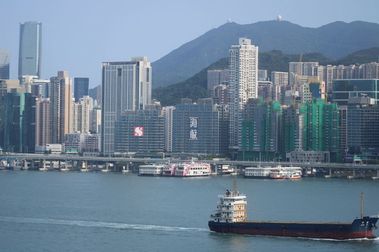 Harbor Harbour Hong Kong Ferry Hong Kong Skyline Hong Kong Skyscraper Skyline Fishermen Tugboat Waterfront Waterfrontview