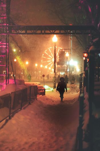 Capture Tomorrow Ice Rink Illuminated City Warm Clothing Cold Temperature Snow Winter Full Length Christmas Lights Christmas Decoration