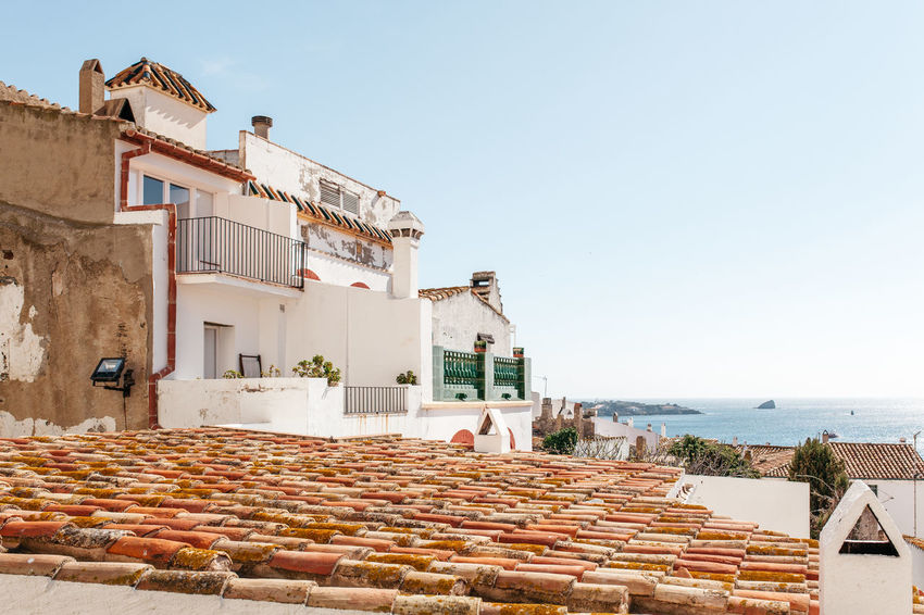 Red Roof. Blue Sea. Architecture Building Exterior Built Structure Catalan Catalunya Clear Sky Costa Brava Culture Day España Exterior Façade History House Human Settlement Mediterranean  Old Outdoors Residential Structure Roof Rooftop SPAIN Town Vacation