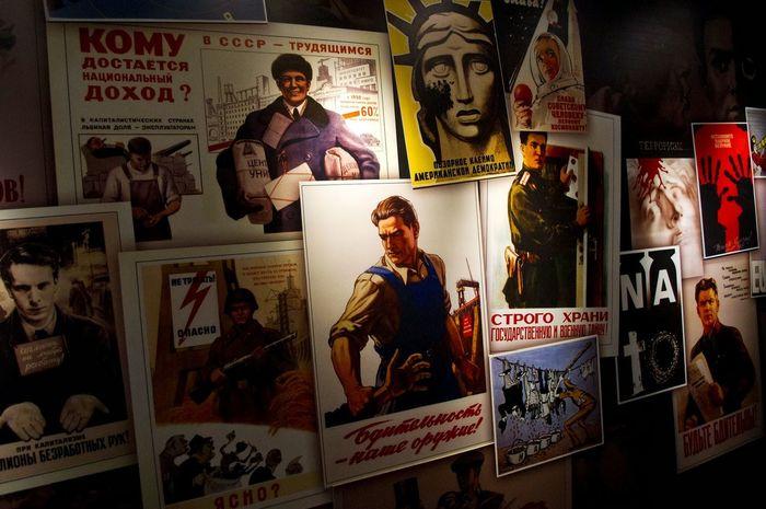 Old Posters Propaganda Communication Day Female Likeness Human Representation Indoors  Male Likeness No People Poster Posters Posters Wall Sculpture Soviet Soviet Propaganda Text