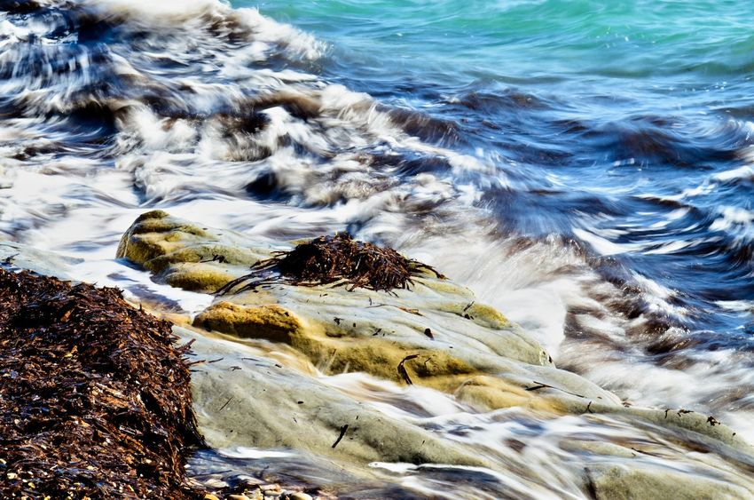 Beach Geology Horizon Over Water Motion Nature Outdoors Physical Geography Power In Nature Reflection Rock Rough Scenics Sea Splashing Surf Vacation Water Waterfront Wave