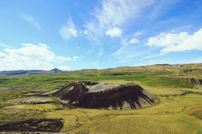 Iceland Vulcano Grábrók Landscape Sky Outdoors No People Agriculture Scenics Nature Day Sun Nature Tranquility