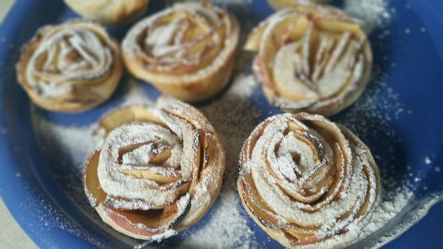 Close-Up Of Apple Tarts In Tray