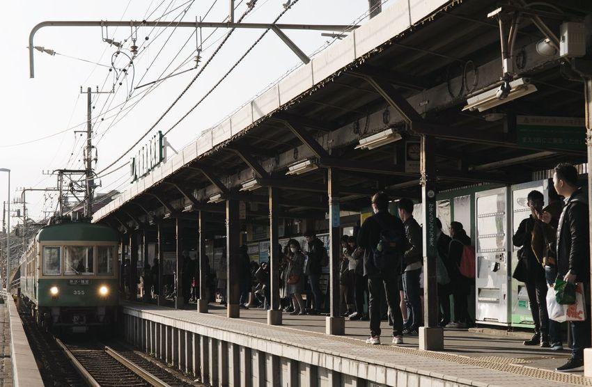 Vscocam Streetphotography Japan Kamakura Train - Vehicle Public Transportation Rail Transportation Transportation Railroad Station Platform Railroad Track Passenger Travel City Day Architecture