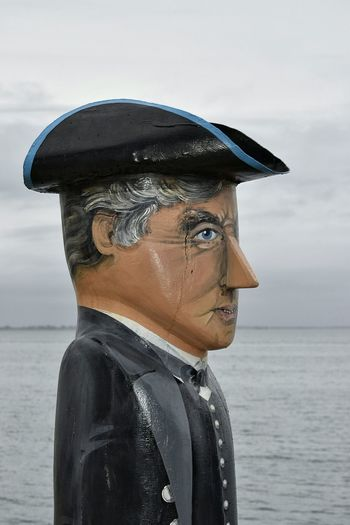 Painted Wood Uniform Captain Characters Character Character Design  Outside Victoria Face Carving In Wood Wooden Sculpure Geelong Different Melbourne Sailor Wooden Statue Carved Wood Eye4photography  Australia Charicature Tourist Attraction  Wooden Carving