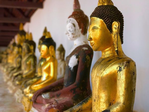 Buddha images in temple Religion Statue Male Likeness Spirituality Human Representation Sculpture Golden Color Idol Gold Colored No People Gold Golden Close-up Indoors  Day Chaiya Suratthani Thailand Buddhism Temple Buddha Gold Art And Craft Place Of Worship Spirituality