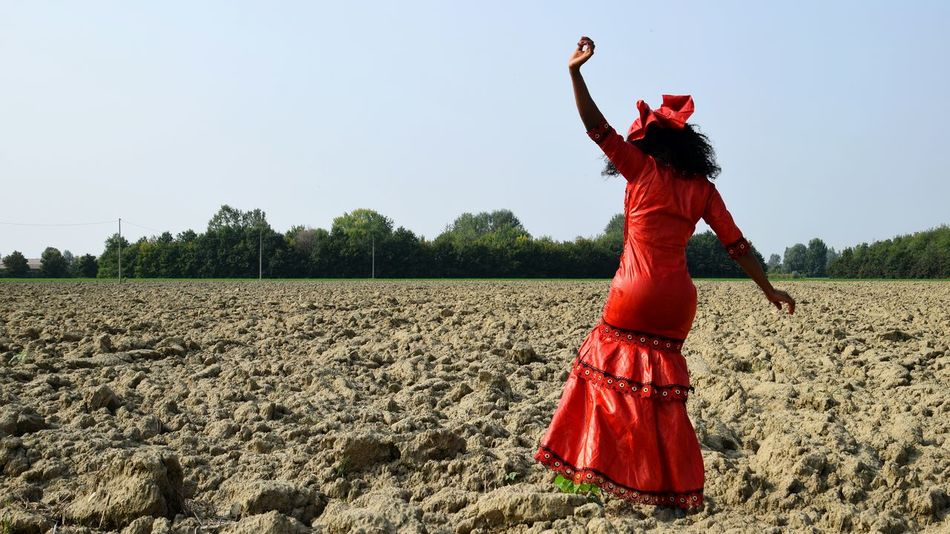 Agricolture Red Rural Scene Standing Young Women Human Arm Arms Raised Limb Sky A New Beginning