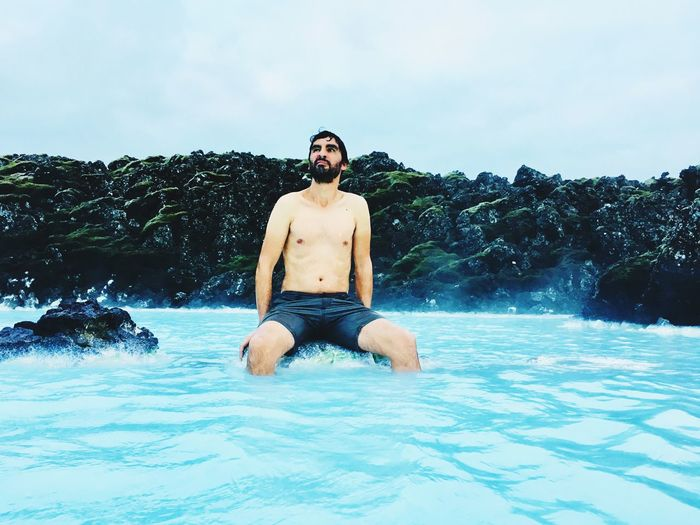 🦖 Relaxing Spa Treatment Blue Lagoon Iceland Iceland EyeEm Selects Young Men Lifestyles Water Real People Shirtless Front View Nature Holiday Vacations Outdoors EyeEmNewHere