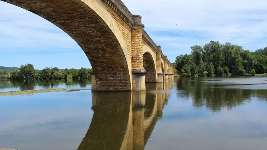 Railway Bridge over the Dordogne South Western France Tadaa Community Water Reflection Tree Sky Architecture Built Structure Plant Bridge - Man Made Structure Connection Waterfront Arch Bridge Bridge No People Nature Arch