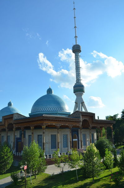 Architecture Blue Built Structure Capital Cities  City Cloud Cloud - Sky Culture Day Famous Place Green Color International Landmark No People Outdoors Sky Sphere Tall - High Tashkent Tourism Travel Destinations Tree