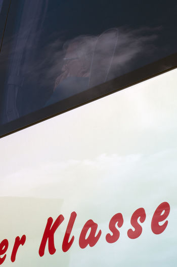 Coach Klasse W Bus Tour Close-up Day Heart Shape Indoors  Lady On Bus Low Angle View No People Red Sky Text