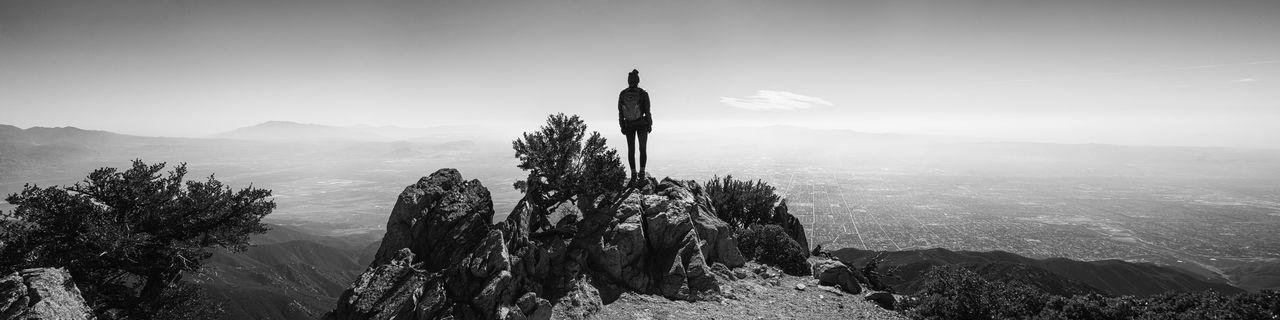 Life above above the haze. Black And White Black And White Photography Black And White Female City Cityscape Los Angeles, California Riverside Rock Tree Haze Hiker Lanscape Mountain Peak Go Higher