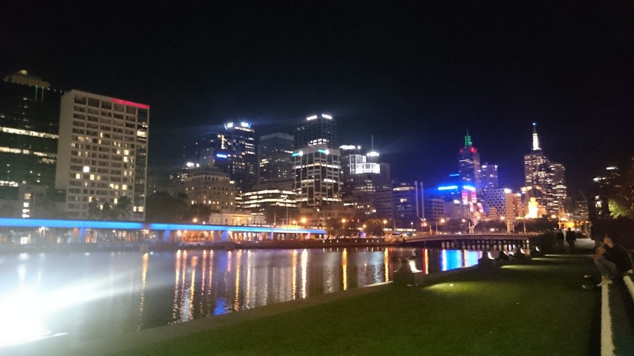 illuminated, architecture, night, built structure, city, building exterior, bridge - man made structure, river, water, outdoors, no people, travel destinations, cityscape, tree, modern, clear sky, sky, nature