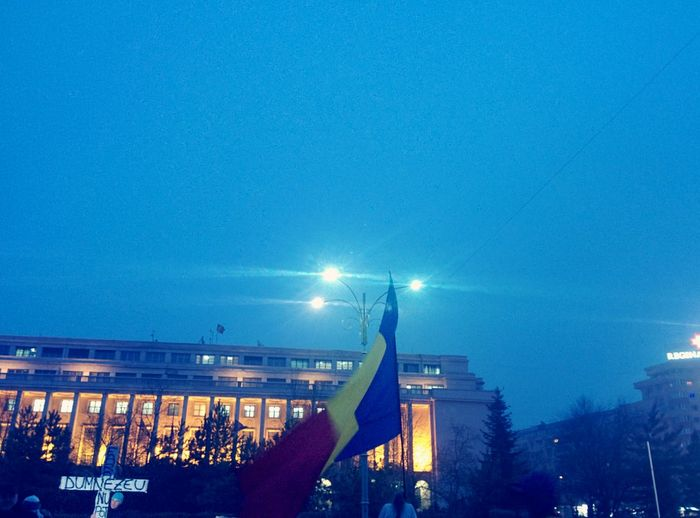 Romania. Now. Night City Clear Sky Sky Illuminated Architecture Outdoors Flag Bucharest Romania Neamsaturat Tineriada Cross God Revolution Government Rezistam Protesting Protest Fog Faith In Humanity Romanians Unity
